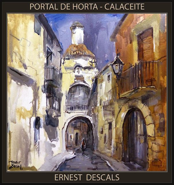 CALACEITE-PINTURA-MATARRANYA-PORTAL-HORTA-CAPILLA-SAN ANTONIO-PAISAJES-TERUEL-CUADROS-PINTOR-ERNEST DESCALS-