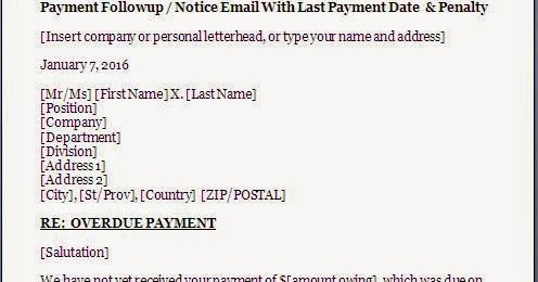 Overdue Payment Reminder Letter Format