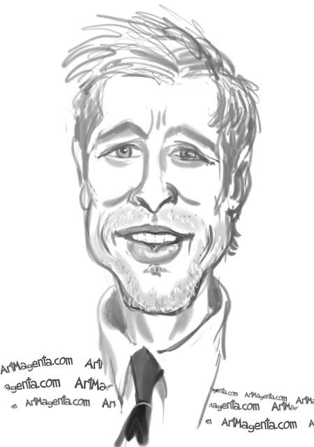 Brad Pitt caricature cartoon. Portrait drawing by caricaturist Artmagenta
