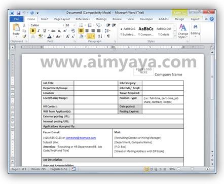 Gambar: Formulir Job description (uraian tugas)