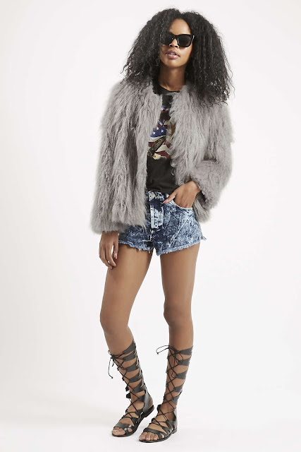 grey shaggy fur coat,