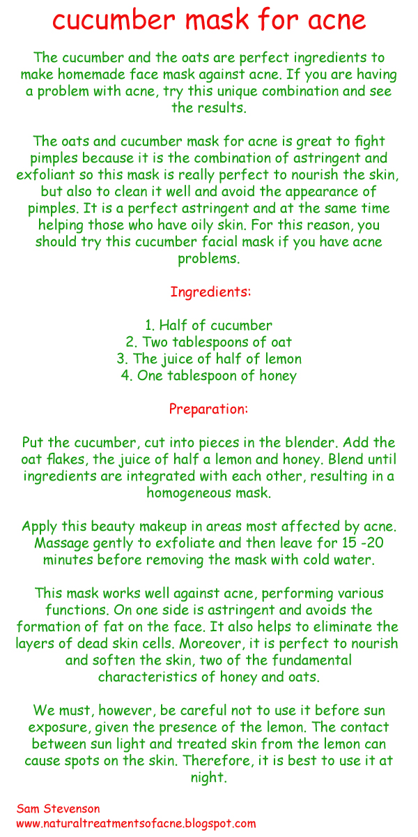 Cucumber mask for acne