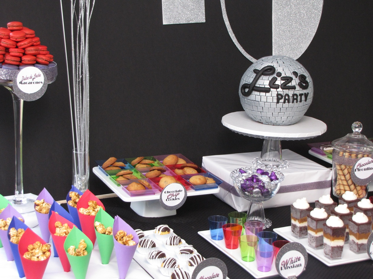 The treat table disco themed 40th birthday for 70s theme decoration ideas