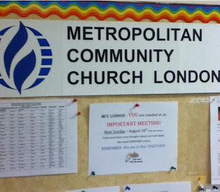 bulletin board of Metropolitan Community Church, London. photo by robg