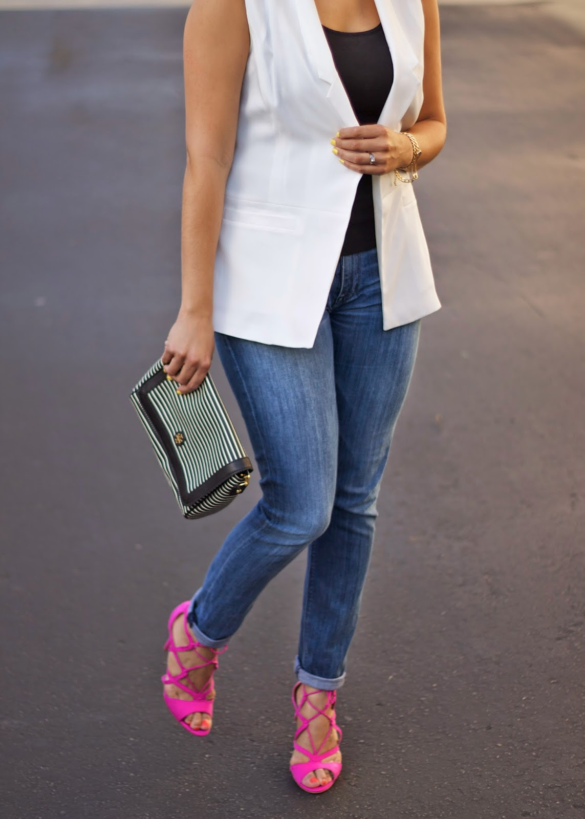 white vest chic outfit, black white stripes and pink, hot pink strappy heels, hot pink lace up heels