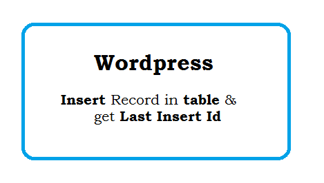 Wordpress insert record into table and get last insert Id