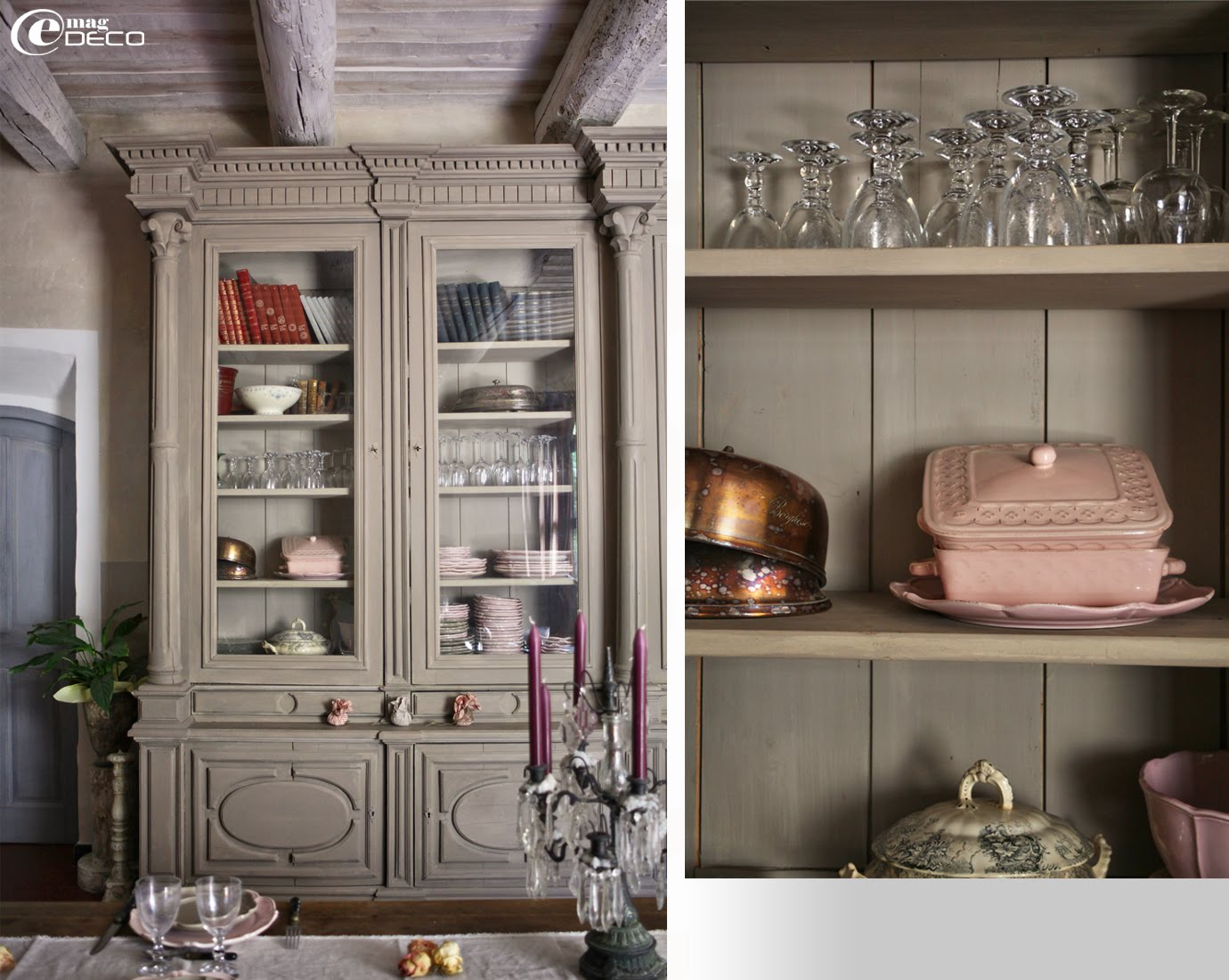 Grande bibliothèque transformée en vaisselier dans la maison d'hôtes Justin de Provence dans le Vaucluse