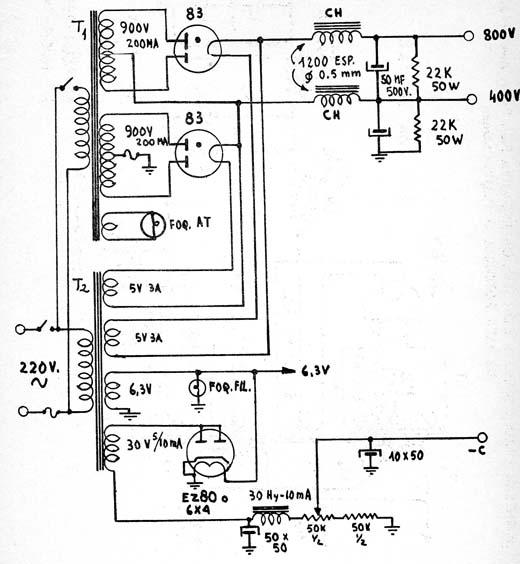 valvulares circuitos  circuito fuente de alimentaci u00f3n de