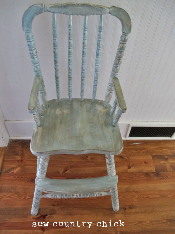 french blue painted and distressed high chair tutorial. Black Bedroom Furniture Sets. Home Design Ideas