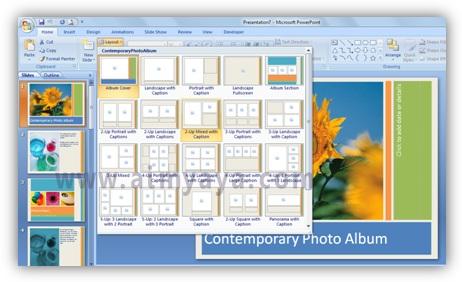 Gambar:  contoh layout untuk digunakan pada slide microsoft powerpoint