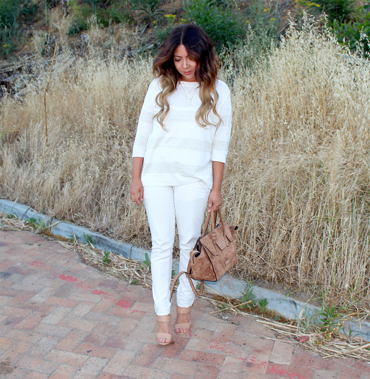white on white ootd, mango, cape town fashion blogger, fashion blogger south africa, nude ootd, legit heels, mango skinny jeans, ombre waves, celine trapeze tote