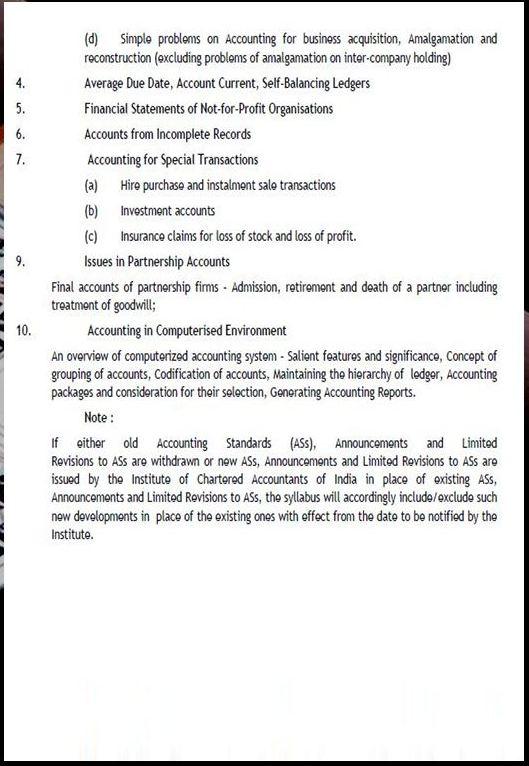 CA IPC SYLLABUS PAPER 1 ACCOUNTING