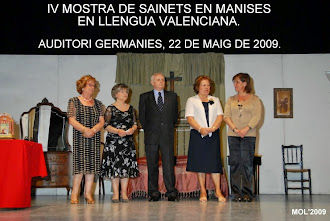 IV MOSTRA DE SAINETS EN LLENGUA VALENCIANA. MANISES 2009.