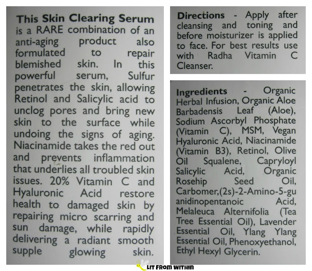Skin Clearing Serum from Radha Beauty