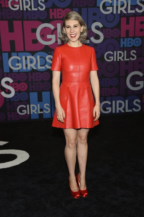 I don't know exactly about her, but this is another great look from Zosia Mamet.  Dressing to impressing in a red short dress, the 26-year-old was radiant to the Girls season 4 premiere at New York, NY, USA on Monday, January 5, 2015.