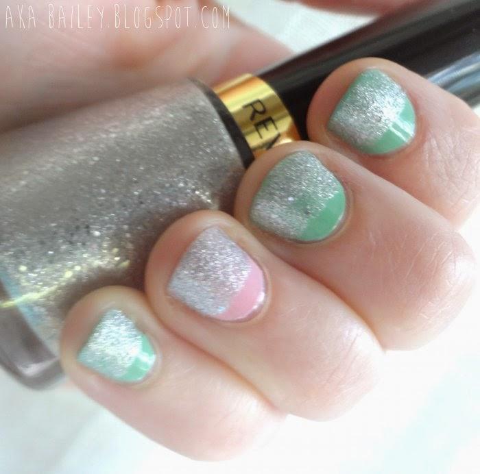 Revlon Diamond Texture silver glitter polish over pastels