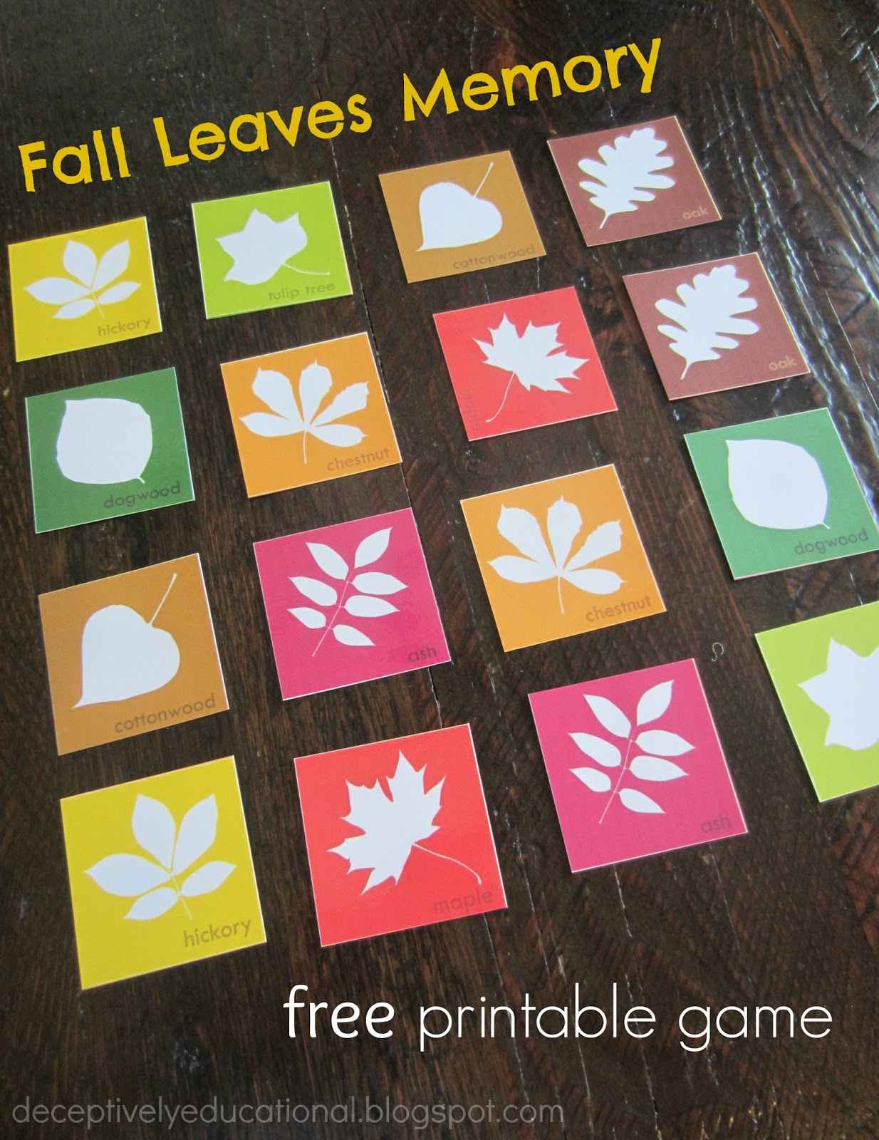 Relentlessly Fun, Deceptively Educational: Fall Leaves Matching ...
