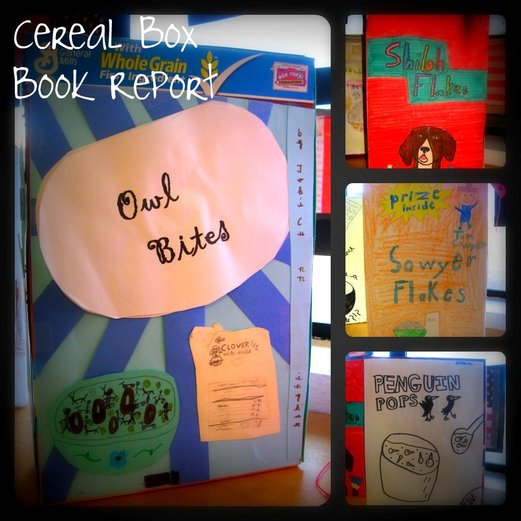 box it book report from cereal box Cereal box book report front of box include the name of the cereal and a  picture invent a name for the cereal that is related to the title of the book and  sounds.