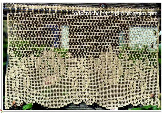 Cortinas en crochet filet 4 patrones gratis todo crochet for Gancho para cortina