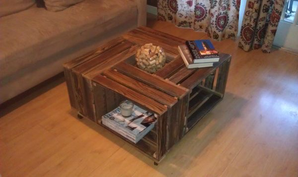 I believe these are the same sellers who made this coffee table from the  crates: - Little Old Bungalow: Craigslist Finds - Wooden Crates!