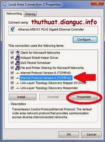 Đổi DNS Google cho Win 7 và Win 8: Nhấn lựa chọn Internet Protocol Version 4 (mũi tên) rồi bấm nút Properties (khoanh đỏ).