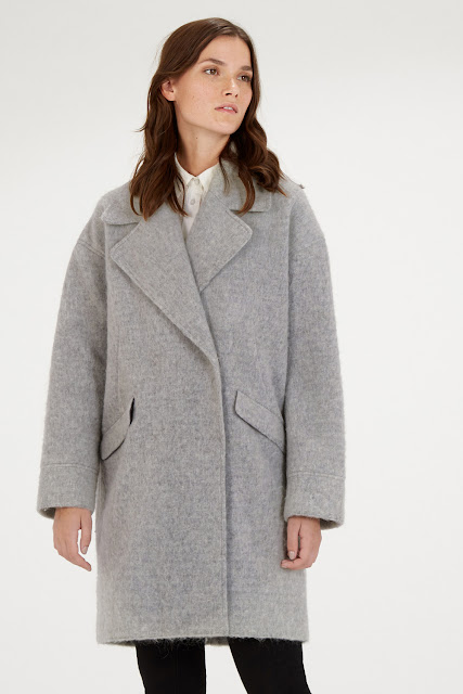 grey cocoon coat, warehouse grey wool coat, light grey wool coat,