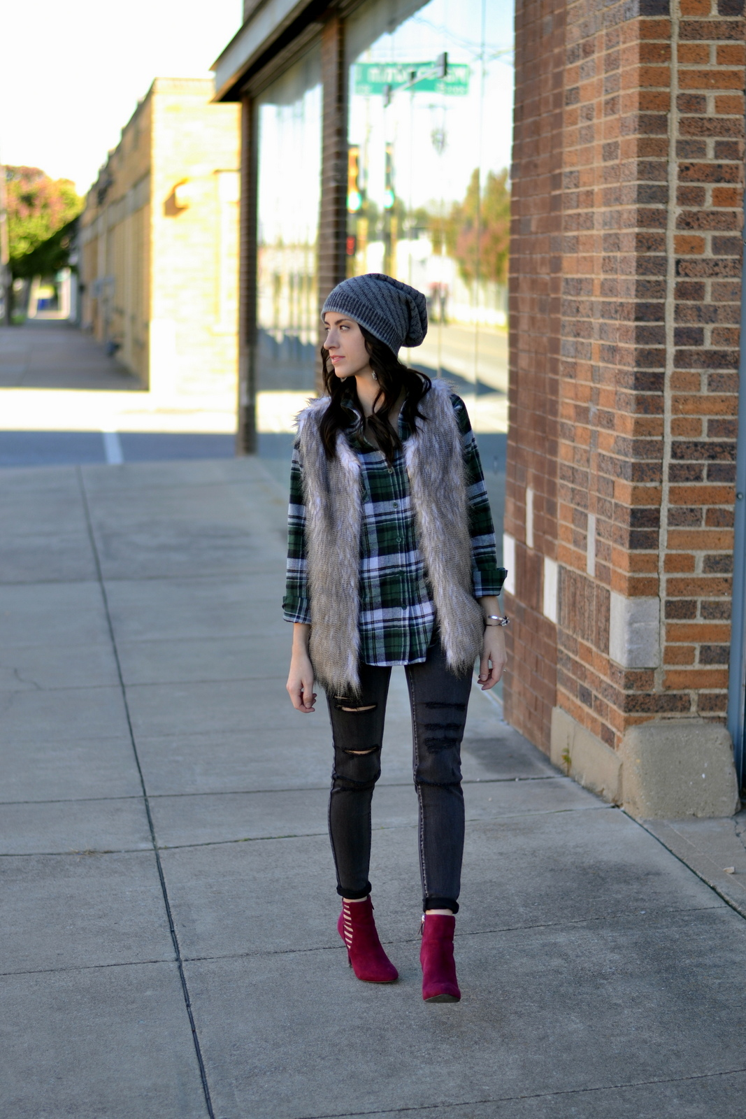 Flannel_Fur_Ripped Denim