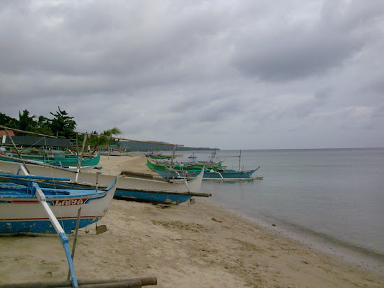 Boats on the beach of Laiya Aplaya