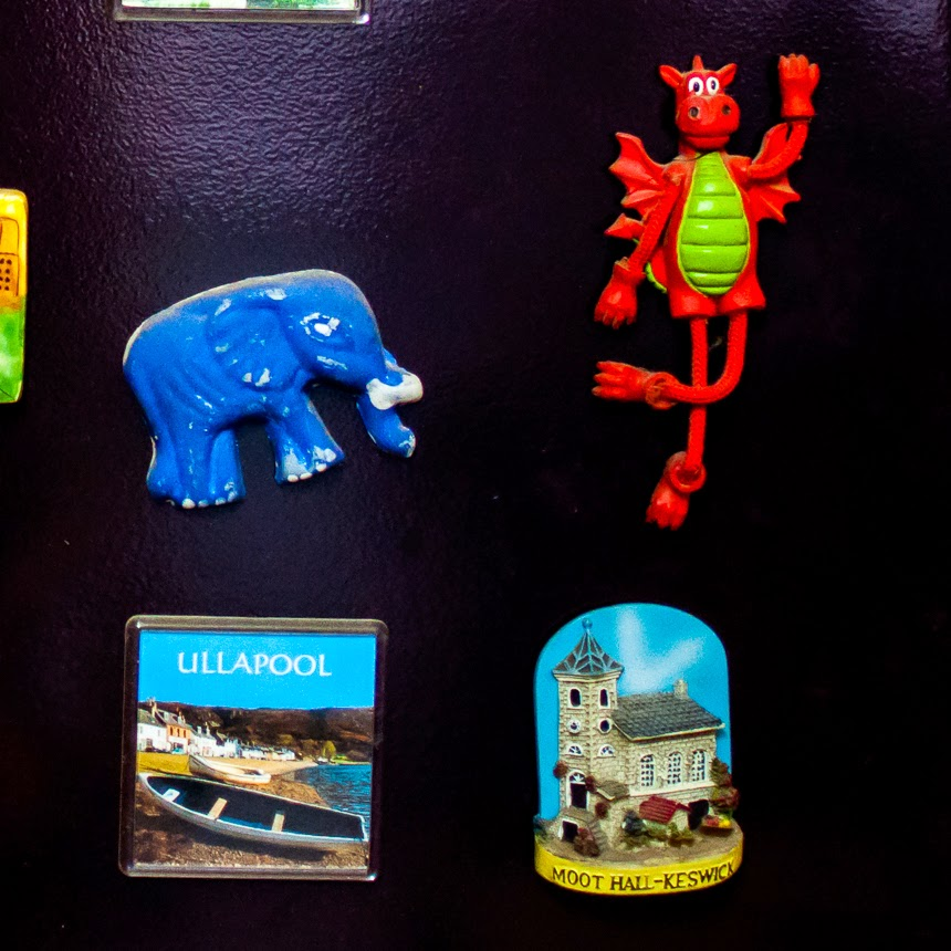 I am very possessive of my magnets and even my 9-year-old nephew, who is the apple of my eye, doesn't remove them from the fridge. In fact, he has also taken on the role of the protector of my magnets now. He has now started adding magnets to my collection. The blue elephant above was made by him.