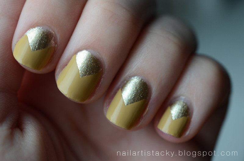 Mustard & Gold - Chevron Nail Art - Butter London Bumster - OCC Cruising