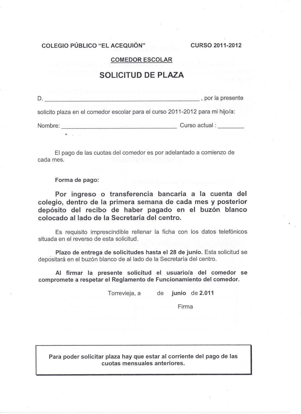 CIRCULAR SOLICITUD DE PLAZA O BECA DE COMEDOR 2011-2012 ~ AMPA CEIP ...