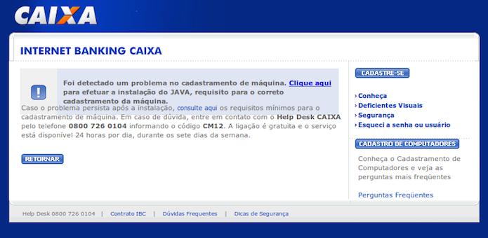 Internet banking da Caixa Econômica Federal exigindo a instalação de Java
