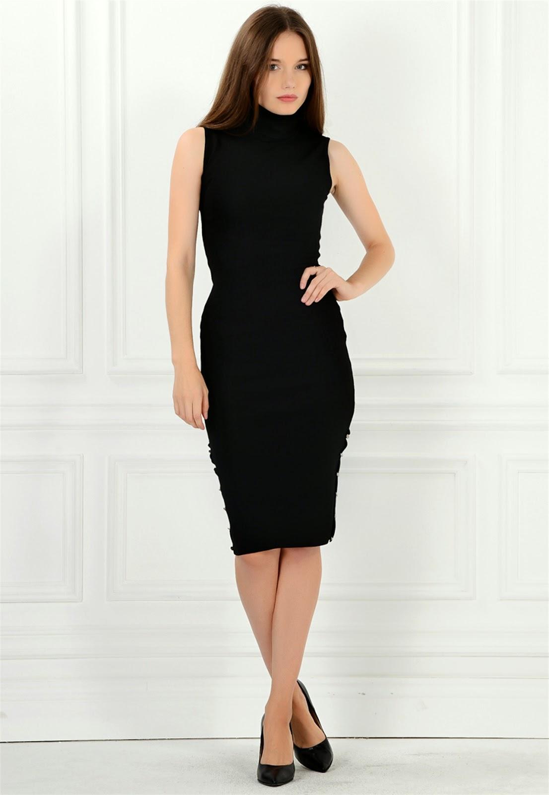 kolsuz elbise, siyah elbise, dar kesim elbise, klasik elbise, boğazlı elbise, 2015 elbise modelleri, adil ışık elbise