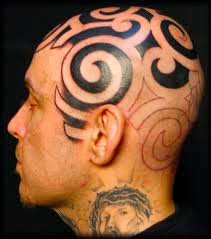 Tribal tattoo on head