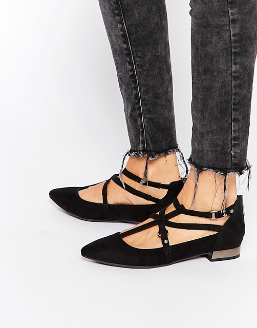 new look black strap flats