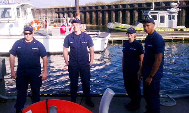 The crew at Coast Guard Station Eatons Neck viewed from the deck of the new 45' Medium Response Boat.