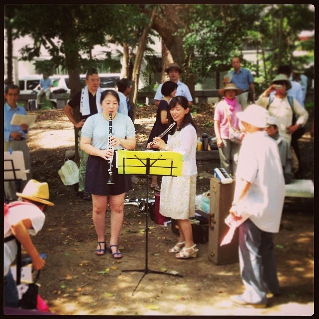 Flute and oboe duo, and old man doing his best to sing along, Yasukuni Shrine, Tokyo.