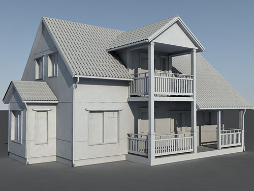 Materials and lighting House 3d model