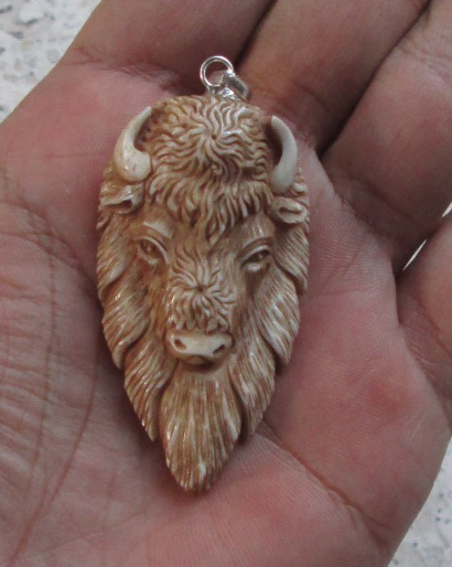 Bull Head Carved Bone Pendants