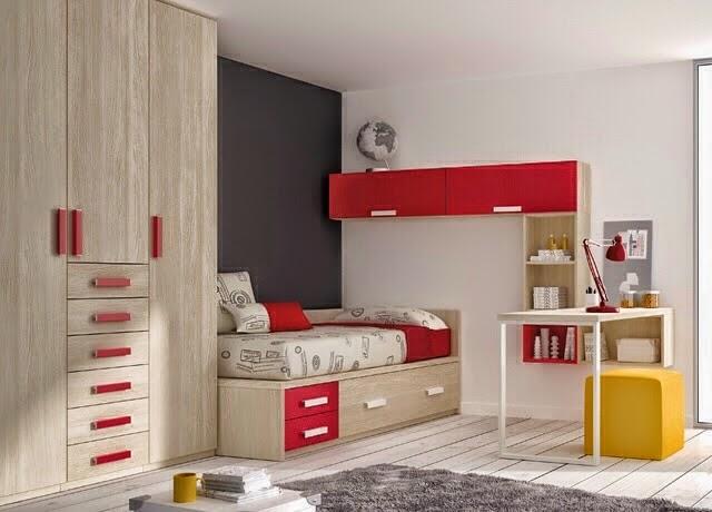 Dormitorio con cama y armario madera y roja