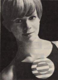 Op' Art 1966 brooch 60s 1960 mod red white Optical Dorothée Bis
