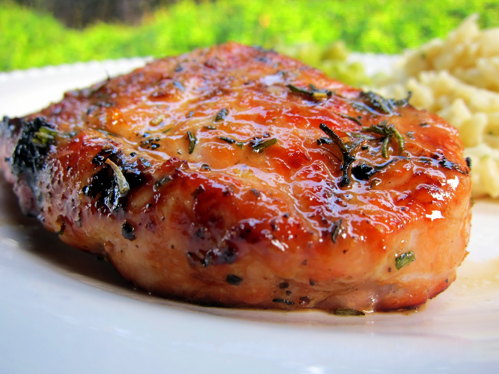Honey Rosemary Grilled Pork Chops  Pork Brushed With Honey, Olive Oil, And  Fresh