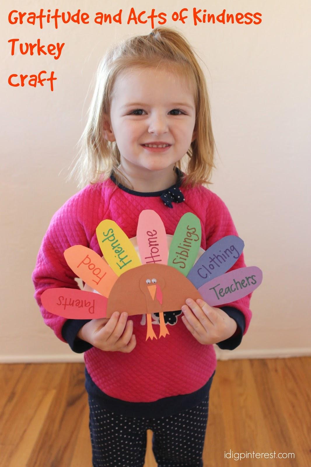 gratitude and acts of kindness kids u0027 turkey craft i dig pinterest