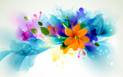 Ilustracin de flores brillantes - Bright flowers draw
