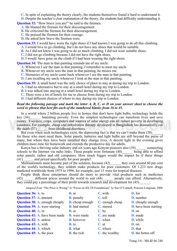 Đề thi môn Tiếng Anh khối A1 năm 2013
