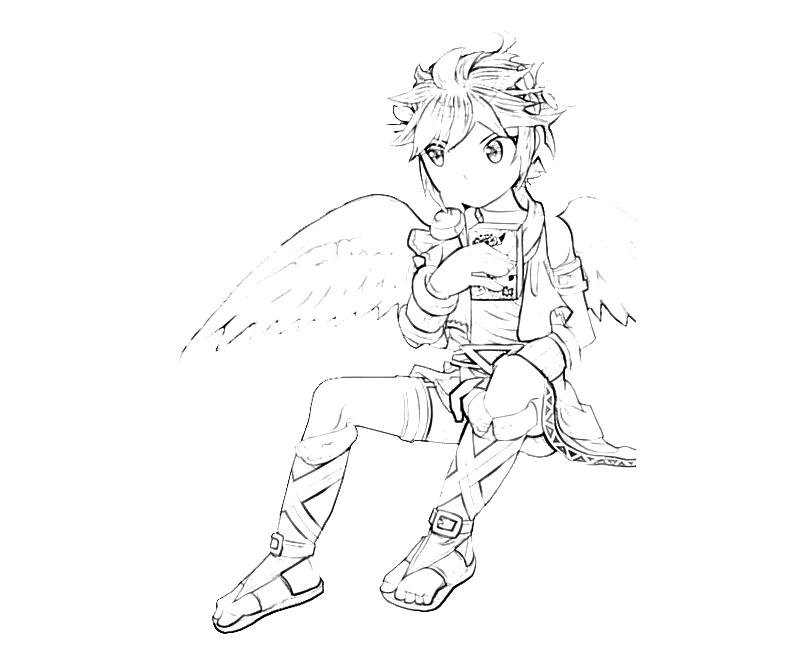 Printable Kid Icarus Dark Pit Angel Coloring Pages