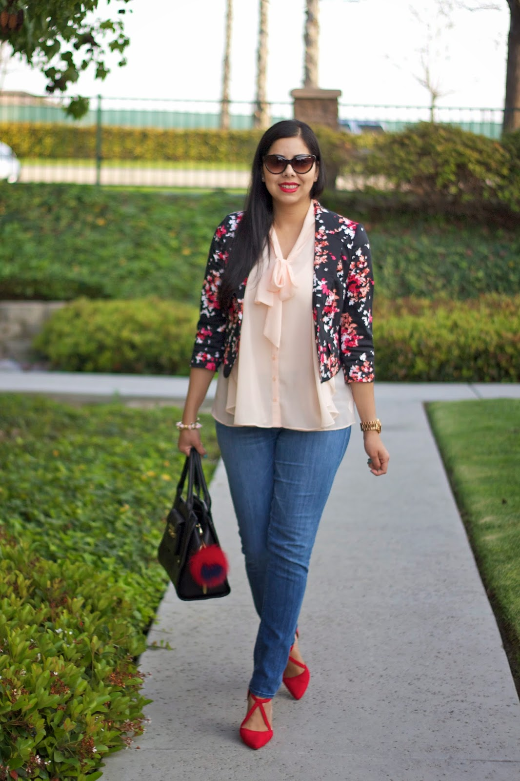 Pale Pink and Red Pop Outfit, pops of red in an outfit