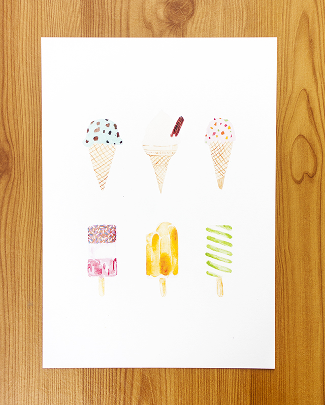 print of watercolour painting various ice creams and ice lollies - mint choc chip, tutti frutti, fab, twister and more