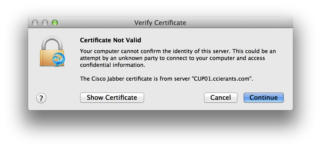 Peter revill ccie blog cisco jabber huge improvements part 1 of this can be annoying for your users so i recommend that you install a proper certificate xflitez Gallery