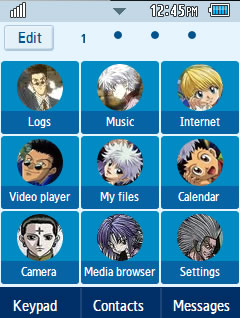 Anime Hunter X Hunter Samsung Corby 2 Theme Menu